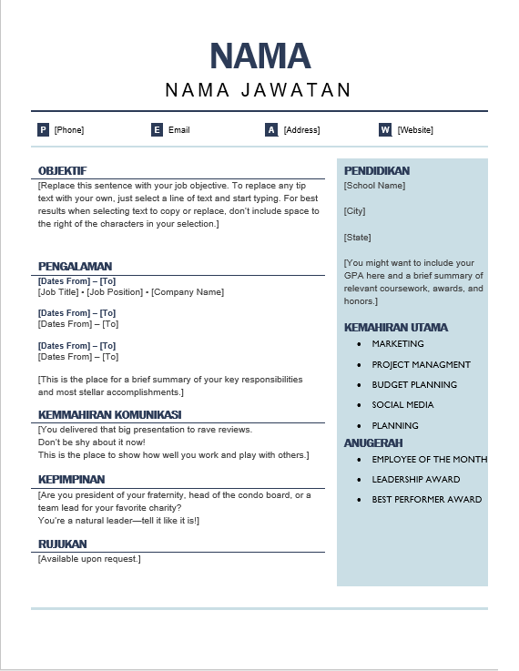 Resume Archives 1001 Contoh